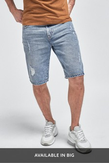 Blue Straight Fit Ripped Denim Shorts With Stretch