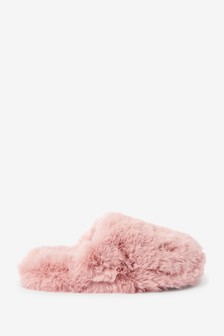 Pink Recycled Faux Fur Mule Slippers
