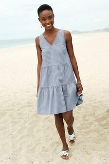 Blue Stripe Tiered Dress