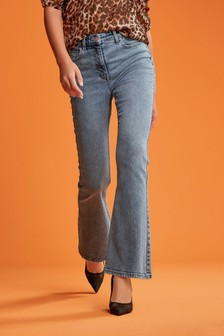 Mid Blue High Rise Authentic Flared Jeans