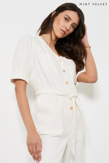 Mint Velvet Ivory Button Puff Sleeve Boilersuit