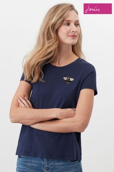 Joules Blue Carley Print Classic Crew T-Shirt