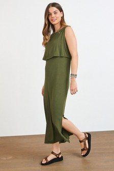 Khaki Maternity/Nursing Layer Maxi Dress