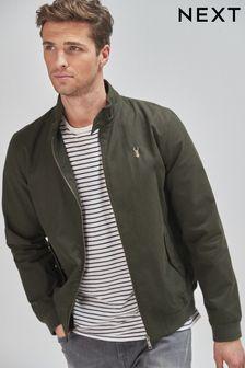 Khaki Green Shower Resistant Harrington Jacket With Check Lining