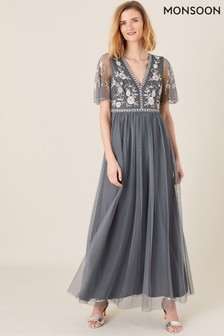 Monsoon Blue Caterina Embroidered Maxi Dress