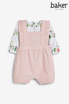 Baker by Ted Baker Pink Pinafore And Bodysuit Set