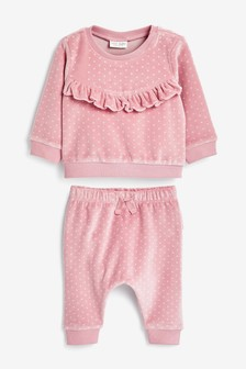 Pink Spot Velour Set (0mths-2yrs)