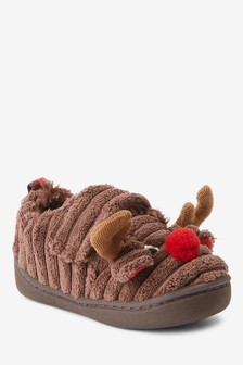 Reindeer Strap Touch Fasten Cupsole Slippers (Younger)