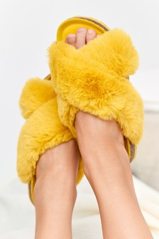 Yellow Crossover Cork Faux Fur Slider Slippers