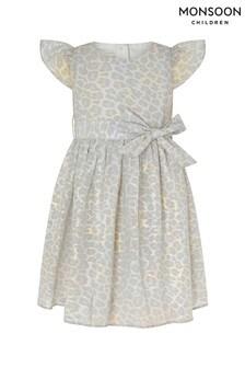 Monsoon Grey Baby Alanis Animal Print Dress