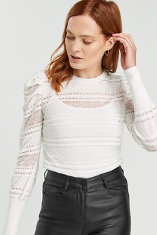 Ecru Lace Sleeve Knitted Top