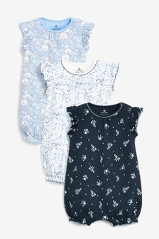 Blue 3 Pack Floral Rompers (0mths-3yrs)