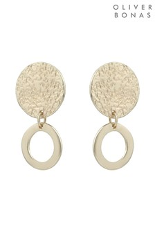 Oliver Bonas Gold Anatola Textured Disc & Ring Drop Earrings