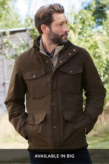Brown Shower Resistant 2-In-1 Jacket With Removable Zip In Gilet