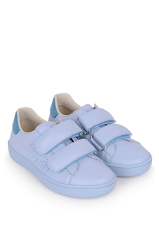 Light Blue Leather New Ace Velcro Trainers