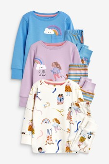 Multi 3 Pack Rainbow/Girl Cotton Snuggle Pyjamas (9mths-8yrs)
