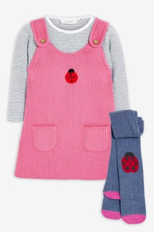 Pink Ladybird Knitted Pinafore, Bodysuit And Tights Set (0mths-2yrs)