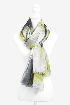 Ochre Abstract Printed Scarf