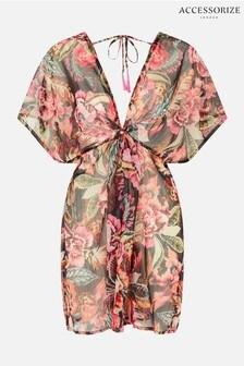 Accessorize Pink Oriental Print Chiffon Kaftan