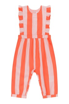 Baby Girls Red Striped Viscose Jumpsuit