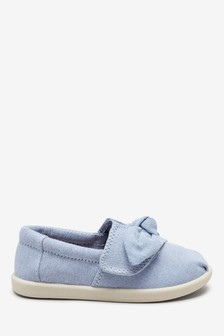 Chambray Canvas Bow Pumps (Younger)