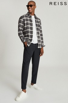 Reiss Dash Brushed Cotton Checked Overshirt