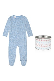 Boys Blue Cotton Logo Babygrow