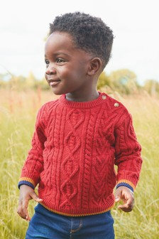 Red Cable Knit Crew Jumper (3mths-7yrs)