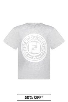 Baby Boys Grey Cotton Logo T-Shirt