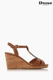 Dune London Koala Tan Leather Plait T-Bar Strap Cork Wedge Heeled Sandals