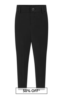 Boys Black Wool Suit Trousers