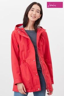 Joules Red Shoreside Coat With Stripe Jersey Lining