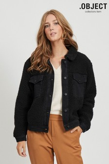 Object Black Teddy Cropped Jacket