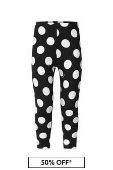 Girls Black Cotton Polka Dot Leggings