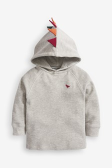 Grey Marl Long Sleeve Textured Dino Spikes Hoody (3mths-7yrs)