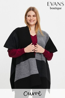 Evans Grey Curve Wrap Cardigan
