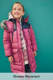 Pink Shower Resistant Colourblock Padded Jacket (3-16yrs)