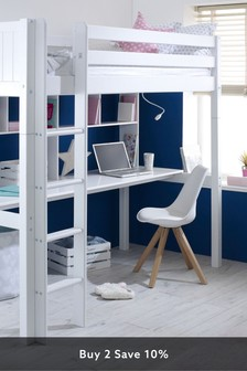 Nordic Highsleeper with Long Desk and Shelving by Flexa