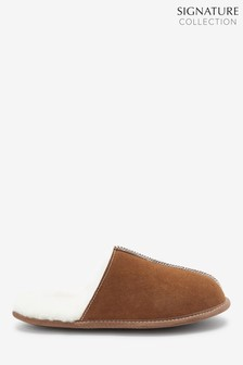 Tan Signature Suede Sheepskin Mule Slippers