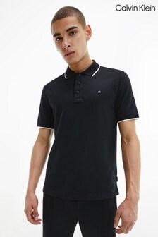 Calvin Klein Black Stretch Tipping Slim Polo Shirt