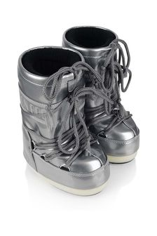 Girls Silver Vinyl Snow Boots