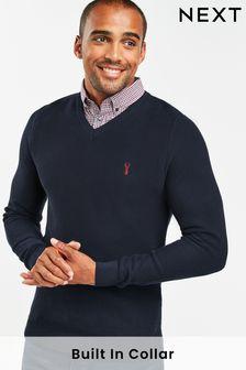 Navy Gingham Mock Shirt Jumper
