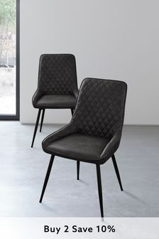 Monza Faux Leather Grey Set of 2 Hamilton Dining Chairs with Black Legs
