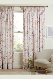 Pink Bright Floral Print Pencil Pleat Lined Curtains