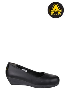 Amblers Safety Black FS107 Antibacterial Memory Foam Slip-On Wedged Safety Shoes