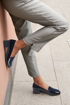 Navy Low Block Loafers