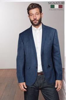 Blue Signature Textured Linen Blend Slim Fit Nova Fides Blazer