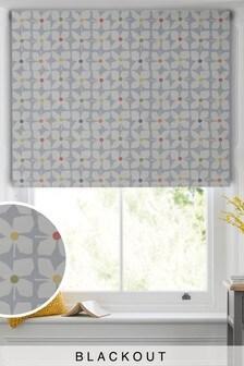 Grey Floral Print Blackout Roller Blind