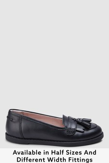 Black Narrow Fit (E) Leather Tassel Loafers