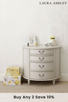 Clifton Dove Grey 4 Drawer Half Moon Chest by Laura Ashley